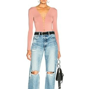 T Alexander Wang Lace Up Bodysuit in Guava Pink S